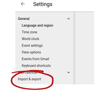 calendar import and export