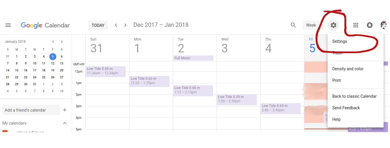 calendar settings screenshot